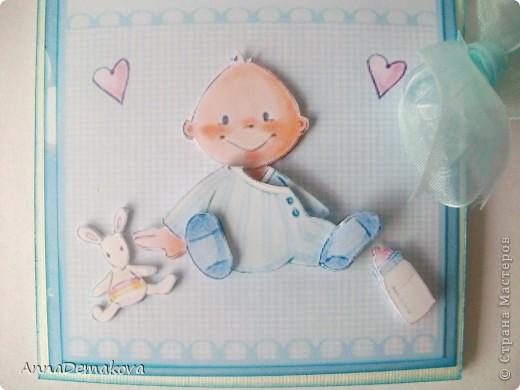 Открыточка на рождение мальчика. Изонить и 3D  мои любимые техники. фото 5