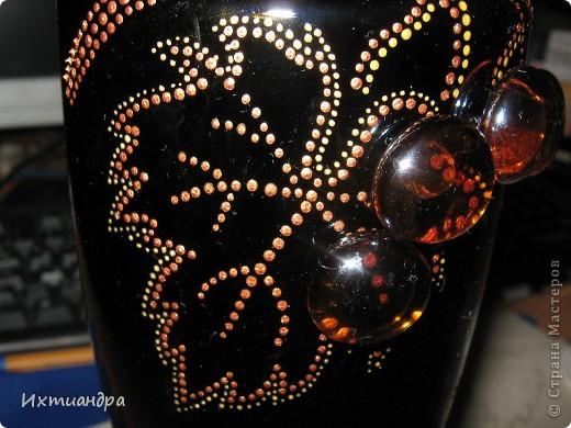 Наконец я нашла новое применение стеклянным шарикам! )) В первом случае это были бутыли с павлином и баночка из-под кофе с цветками http://stranamasterov.ru/node/318691 Сегодня - это янтарный виноград! (P.S.  подобную бутыль когда-то подсмотрела на просторах интернета.  Так что сама идея - не моя. Я всего лишь добавила свою фантазию) фото 5