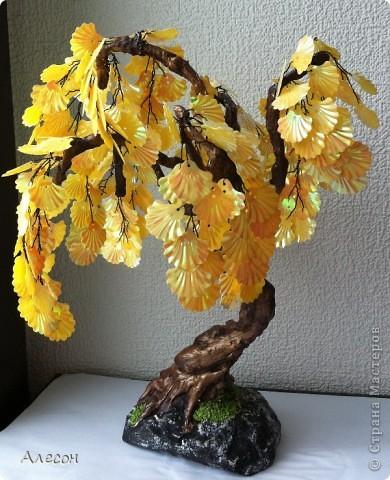 Поделка изделие Бисероплетение Деревья Бисер Гипс Пайетки Проволока фото 2.