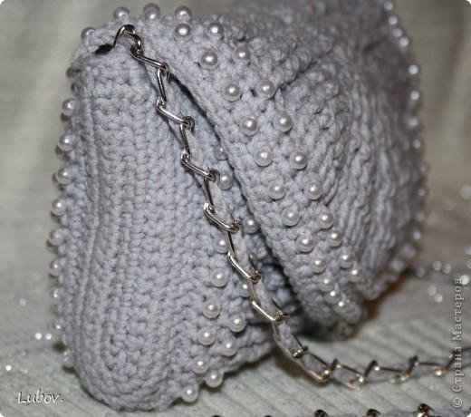 Мастер-класс Поделка изделие Презент от Голубки Вязание крючком Вечерняя сумочка с бусинами Бусинки Пряжа фото 5