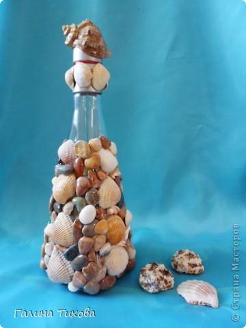 Графин, декорированный ракушками. фото 6