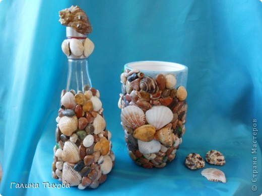 Графин, декорированный ракушками. фото 7