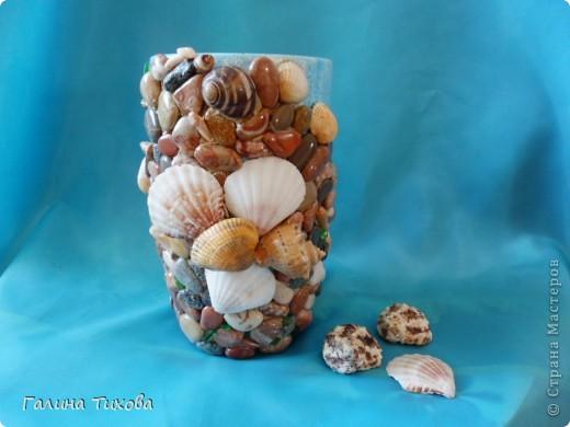 Графин, декорированный ракушками. фото 8