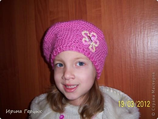 Осенне-весенний беретик для дочки! Связан крючком. фото 7