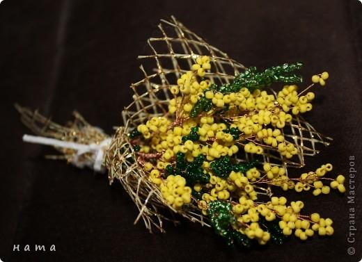 Поделка изделие 8 марта День рождения Бисероплетение Весенние первоцветы Бисер фото 3.