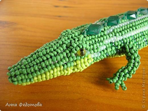 Игрушка Поделка изделие Бисероплетение Крокодил из бисера Бисер фото 3.