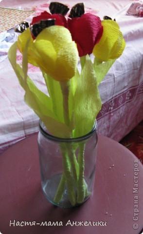 """Когда-то в интернете видела подобные конфетные цветы.И не потрудилась посмотреть в """"стране"""". И только сегодня увидела,что есть МК по чудесным букетикам. Но свои цветочки делала почти интуитивно.Так что не судите строго.Девочкам и такие цветочки понравились) На фото тюльпаны-весенние цветы,на весенний день рождения маленькой девочке на 1годик. Сказали дарить деньгами,но мне захотелось порадовать и маму и бабушку и саму маленькую девочку хотя бы букетиком цветов,который в отличие от живых могут постоять и послужить хоть какой-то памятью о первом маленьком празднике ее жизни) фото 1"""