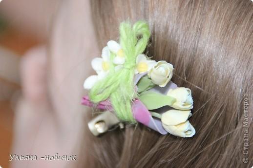 зажим 3 тюльпана в миниатюрном кулечке))) и цветы белой сирени фото 1