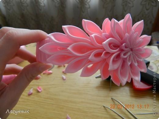 Мастер-класс Украшение Цумами Канзаши Ободок Нежность Ленты фото 14