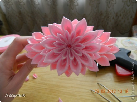 Мастер-класс Украшение Цумами Канзаши Ободок Нежность Ленты фото 15
