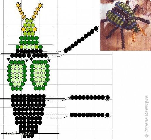 Как сплести жук из бисера