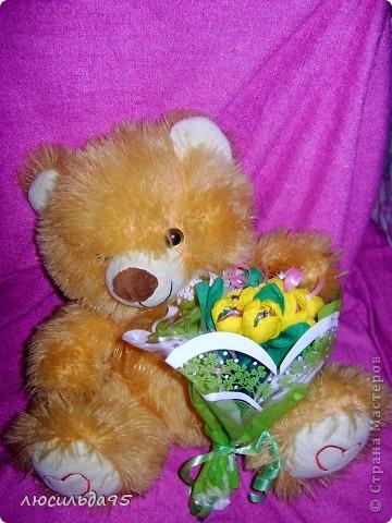 Спасибо за поздравление!!!!!!!!!!!!!!!!!!  Решила попробовать сделать букет конфетный)))))))))))))) скромненький ........на пробу........получился или нет судить не мне........ фото 2