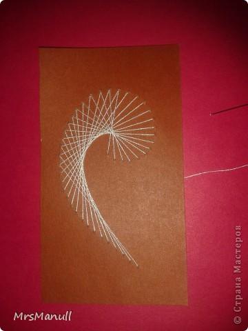 Мастер-класс Изонить Вышиваем перья Изонить МК Картон Клей Нитки фото 14