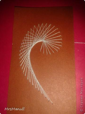 Мастер-класс Изонить Вышиваем перья Изонить МК Картон Клей Нитки фото 16