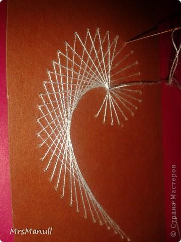 Мастер-класс Изонить Вышиваем перья Изонить МК Картон Клей Нитки фото 19