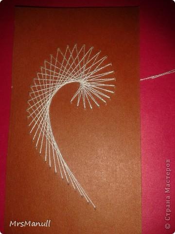 Мастер-класс Изонить Вышиваем перья Изонить МК Картон Клей Нитки фото 22