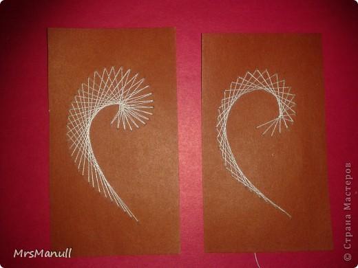 Мастер-класс Изонить Вышиваем перья Изонить МК Картон Клей Нитки фото 24