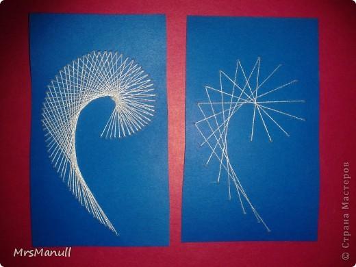 Мастер-класс Изонить Вышиваем перья Изонить МК Картон Клей Нитки фото 27