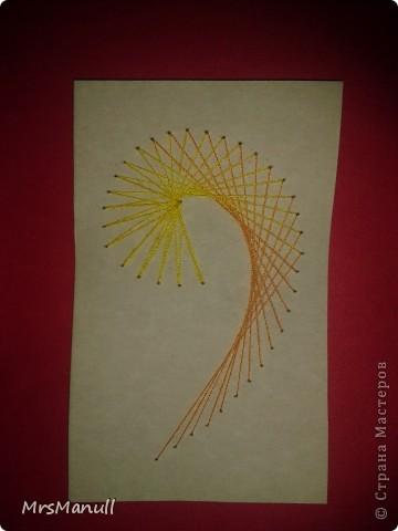Мастер-класс Изонить Вышиваем перья Изонить МК Картон Клей Нитки фото 32
