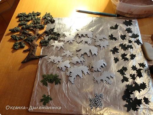 Картина панно рисунок Мастер-класс Папье-маше МК по созданию объемного дерева Бумага Гуашь Салфетки фото 10