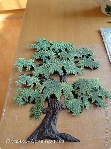 Картина панно рисунок Мастер-класс Папье-маше МК по созданию объемного дерева Бумага Гуашь Салфетки фото 12