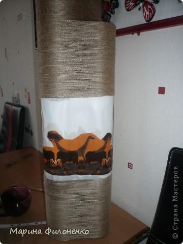 Мастер-класс Поделка изделие Декупаж Моделирование конструирование Африканская ваза под зонты Бусины Гуашь Картон Клей Краска Проволока Салфетки Шпагат фото 4