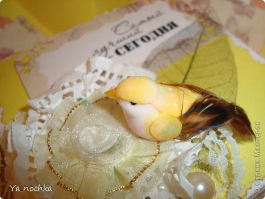 Вот такую поздравительную коробочку сделала я для своей сестры на день рождения! И цветовая гамма мне такая нравится, нежно-желтенькая.И птичка пришлась к месту. В общем сама довольна, надеюсь, ей понравится!