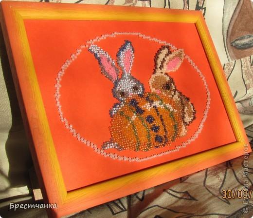 Картина панно рисунок Вышивка Пасхальная вышивка бисером Бисер Бумага Картон фото 4.