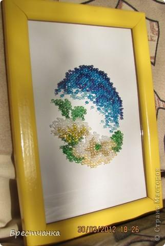 Картина панно рисунок Вышивка Пасхальная вышивка бисером Бисер Бумага Картон фото 1.