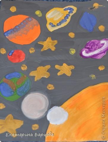 Раннее развитие День космонавтики Оригами китайское модульное Рисование и живопись Рисунки к 12 апреля - День Космонавтики повторюшки идеи взяты в стране мастеров Гуашь фото 1