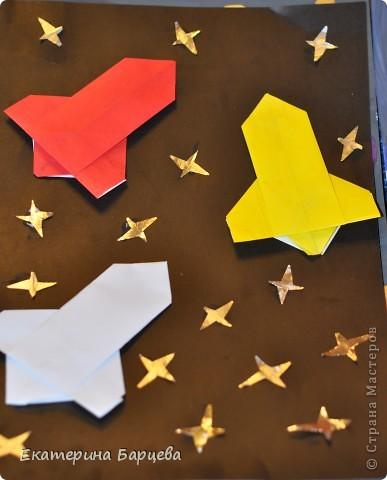 Раннее развитие День космонавтики Оригами китайское модульное Рисование и живопись Рисунки к 12 апреля - День Космонавтики повторюшки идеи взяты в стране мастеров Гуашь фото 8
