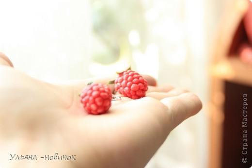 сережки-малинки из холодного фарфора))) на моей самодельной листве)))) фото 4