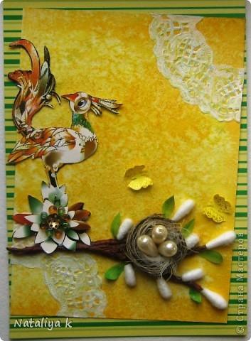 Весной природа оживает ,просыпается .Появляется первая зелень,зацветают первоцветы,птицы вьют гнёзда и высиживают птенцов-ЖИЗНЬ ПРОДОЛЖАЕТСЯ!!! Эта открыточка младшая сестрёнки-двойняшка предыдущей открыточки с одуванчиками))) фото 1