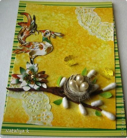 Весной природа оживает ,просыпается .Появляется первая зелень,зацветают первоцветы,птицы вьют гнёзда и высиживают птенцов-ЖИЗНЬ ПРОДОЛЖАЕТСЯ!!! Эта открыточка младшая сестрёнки-двойняшка предыдущей открыточки с одуванчиками))) фото 4