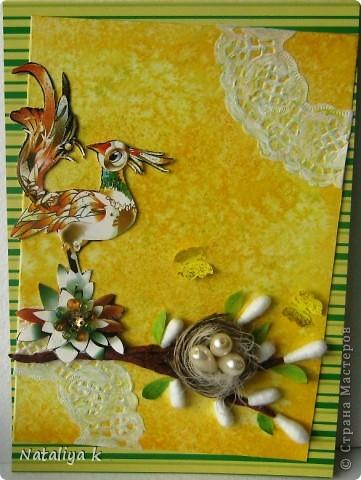 Весной природа оживает ,просыпается .Появляется первая зелень,зацветают первоцветы,птицы вьют гнёзда и высиживают птенцов-ЖИЗНЬ ПРОДОЛЖАЕТСЯ!!! Эта открыточка младшая сестрёнки-двойняшка предыдущей открыточки с одуванчиками))) фото 5