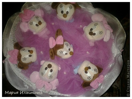 Букет из 7 mikki mouse в бело - розовом оформлении! фото 1