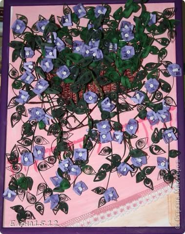 Картина панно рисунок Квиллинг Зацвела у меня бугенвиллия Бумажные полосы Тесьма шнур фото 3.