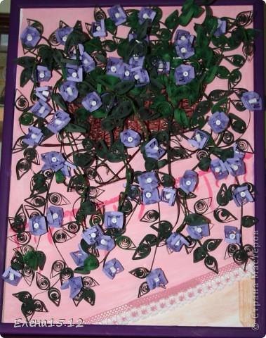 Картина панно рисунок Квиллинг Зацвела у меня бугенвиллия Бумажные полосы Тесьма шнур фото 1.