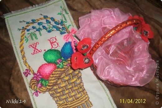 Салфетка и  Пасхальная корзинки с декором.