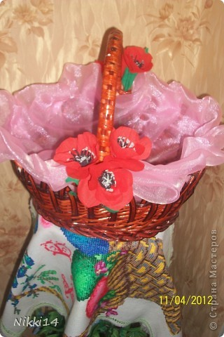 Салфетка и  Пасхальная корзинки с декором. фото 4