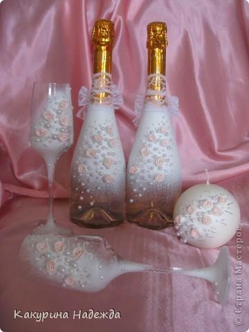 Декор предметов Свадьба Декупаж Свадебные аксессуары ручной работы Бусины Бутылки стеклянные Краска фото 1
