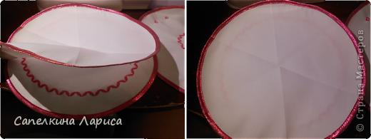 Всем доброго времени суток. Я снова с пасхальными атрибутами. Сегодня представляю небольшой МК по изготовлению салфетки для кулича и яиц. Для салфеток я использовала (шила сразу две): 1. ткань «бостон», она плотноватая (типа плащевки) и держит форму; 2. косая бейка 2,5 м – розовой, 3 м голубой; 3. нитки голубые, розовые, белые; 4. тонкие атласные ленты.  фото 11