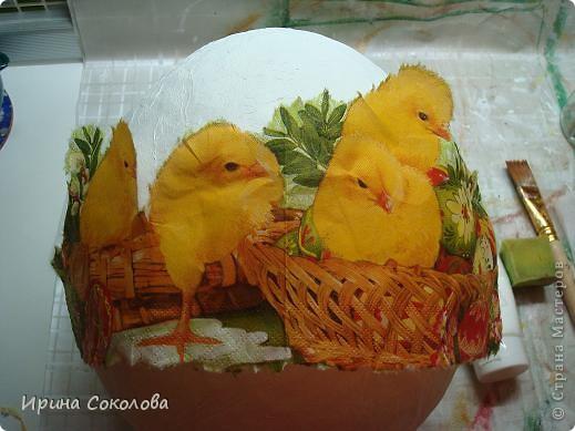 Вот такое огромное яйцо мы сделали с сыном на школьную пасхальную выставку (куриные яички я положила рядом, чтобы виден был размер нашего яйца).  фото 12