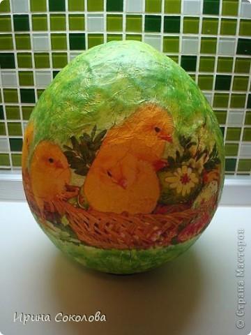 Вот такое огромное яйцо мы сделали с сыном на школьную пасхальную выставку (куриные яички я положила рядом, чтобы виден был размер нашего яйца).  фото 13