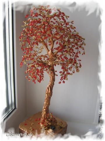 деревья из бисера - бонсай-светильник.