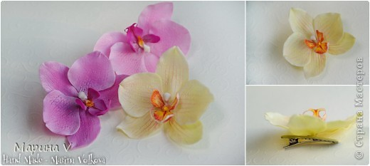 Всем привет! Я сегодня с орхидейками:))  Цветок в диаметре около 9 см, приклеила на зажим фото 2