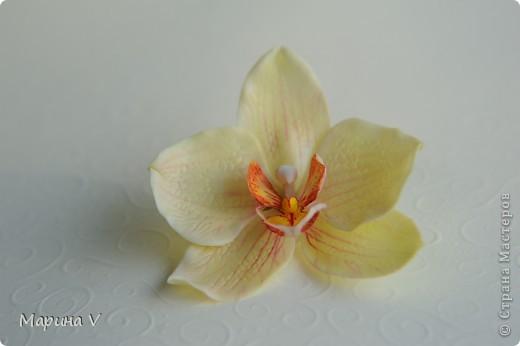 Всем привет! Я сегодня с орхидейками:))  Цветок в диаметре около 9 см, приклеила на зажим фото 3