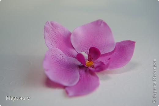 Всем привет! Я сегодня с орхидейками:))  Цветок в диаметре около 9 см, приклеила на зажим фото 7
