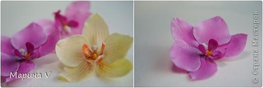 Всем привет! Я сегодня с орхидейками:))  Цветок в диаметре около 9 см, приклеила на зажим фото 1