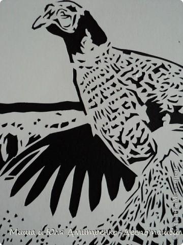 Картина панно рисунок Вырезание Фазан и легенда о Тбилиси Бумага Картон Клей фото 2
